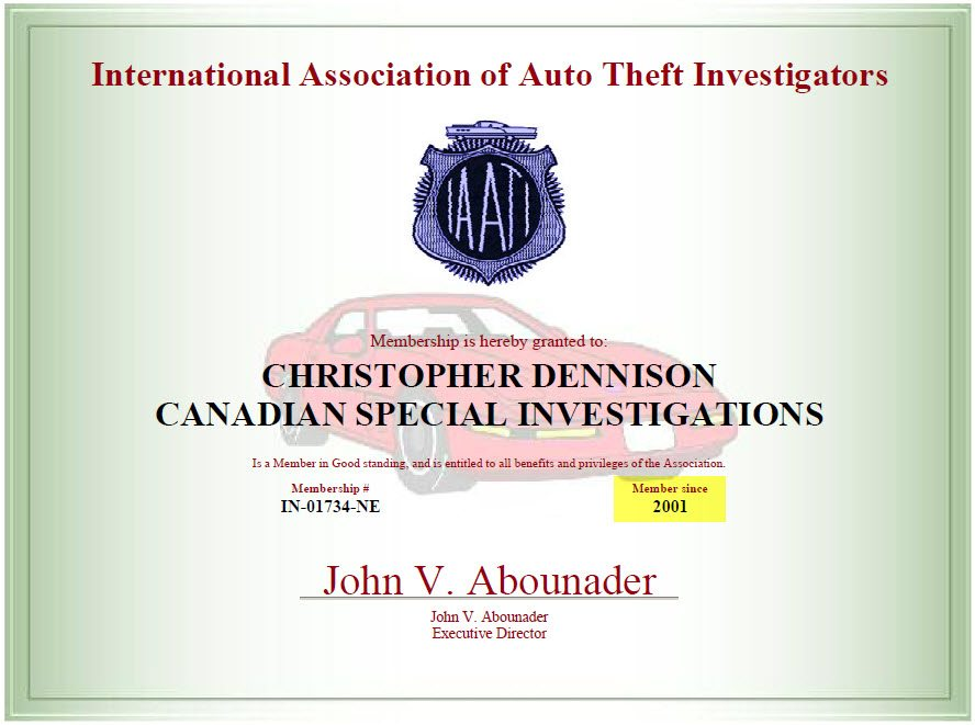 IAATI Auto Theft certificate 2014 - 1