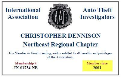 IAATI Auto Theft certificate 2014 - 2